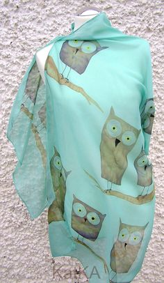 owls blue 100 silk hand painted ready to ship by KATKAartSHOP