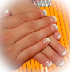 Fresh look for back to school. Structure Gel nail enhancements, french tip style