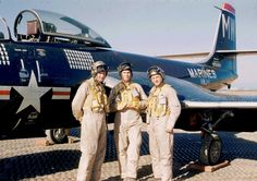 USMC McDonnell F2H-2P Banshee Pilots of VMJ-1, Korea, 1953.