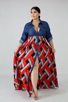 Denim Chiffon Maxi Dress in 2020 Latest African Fashion Dresses, African Print Fashion, Curvy Girl Fashion, Plus Size Fashion, Curvy Outfits, Plus Size Outfits, Beautiful Dress Designs, Plus Size Summer Dresses, Girls Maxi Dresses