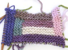 DROPS Knitting Tutorial: How to knit a blanket with stripes.