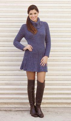 Vestido de tricô com tranças