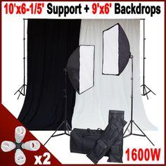8 Light 1600W Photo Studio Soft Box Lighting Kit 10' Stand 2 Backdrops Video Set | eBay