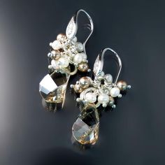 Champagne Crystal and Pearl Earrings from Zoran Designs Jewelry