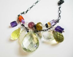 Gemstone Necklace Bohemian Necklace Green Amethyst by nutraj, $42.00