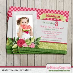 Watermelon Party Printable Invitation.