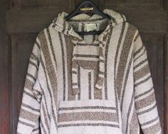 Ethnic Hoodie Vintage Hippie Tribal Parka Boho Mexican Hooded Jacket or Poncho XL Aztec Stripe Serape $38.00