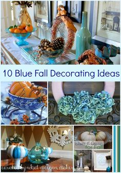 I've Got The Monday Blues With Blue Fall Decor (Christmas Mantle Blue) Blue Fall Decor, Fall Mantle Decor, Thanksgiving Decorations, Seasonal Decor, Fall Crafts, Holiday Crafts, Diy Crafts, Holiday Decor, Fall Living Room