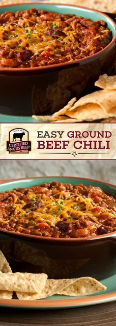 Certified Angus Beef brand EASY Ground Beef Chili is a SIMPLE recipe made with the best ground beef and flavorful ancho and jalapeño peppers! This DELICIOUS chili recipe is so easy to make and is guaranteed to make an impression. Perfect for game day! Best Beef Recipes, Ground Beef Recipes, Chili Recipes, Cooking Recipes, Delicious Recipes, Crockpot Recipes, Free Recipes, Chicken Recipes, Favorite Recipes