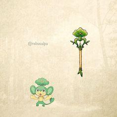 No. 511 - Pansage. #pokemon #pansage #wand #pokeapon