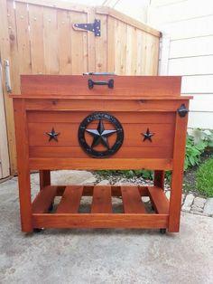 5a7f6d53d60 Texas Style custom cedar wood cooler   ice chest with 100 quart Igloo  inside Diy Cooler