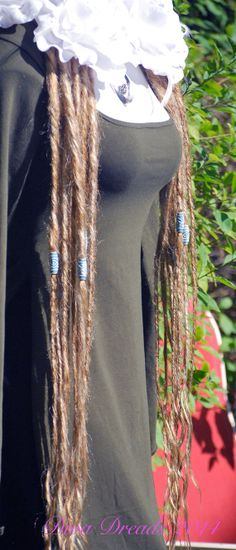 Blond with Blue beading dread lock falls by Diva Dreads on Etsy, $85.00