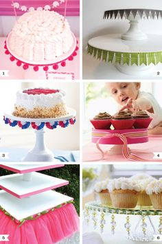 Easy ways to dress up a cake stand. I really like the idea of the bunting around it because you could customize so easily to your party theme/color.