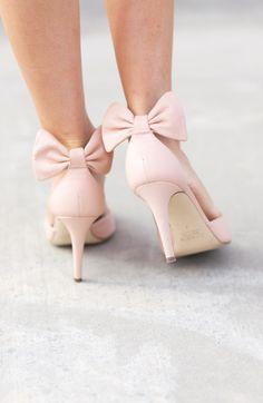 Blush bow heels