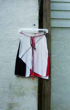 Womens Skirt/ White Stripes Tribute Skirt/ Red by RebirthRecycling, $40.00