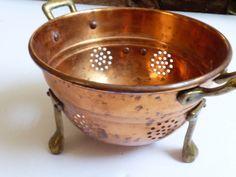 Vintage small footed Copper & Brass handles & legs Colander Strainer | eBay