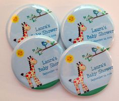 Giraffe Baby Shower Favor Magnets by Stuck Together Magnets on Etsy, 10 magnets for $12.50