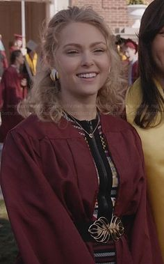 Carrie's graduation dress on The Carrie Diaries.  Outfit Details: http://wornontv.net/26760/ #TheCarrieDiaries
