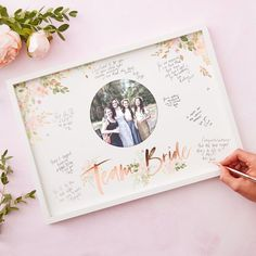 Team Bride guestbook frame with photo JGA/bridal party party decoration gift idea Hen Party Decorations, Wedding Ceremony Decorations, Bridal Shower Decorations, Party Frame, Book And Frame, Rose Gold Frame, Bachelorette Party Games, Bridal Shower Games, Party Guests
