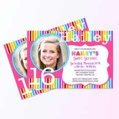 Candy Land Themed Birthday Party Invite