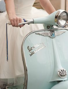 To be honest, I'm more excited about the dress than the Vespa. But the scooter is a pretty neat color. Vintage Vespa, Vintage Cars, Vintage Italy, 50s Vintage, Shabby Vintage, Vintage Vibes, Vintage Dress, Shabby Chic, Motos Vespa