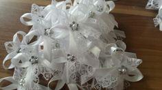 Svadobné pierko biela + biela čipka