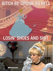 If you've seen this SNL skit, then you'll get it. Hahaha Kristen Wigg is hilarious!! Who knew Cinderella was an alcoholic lol