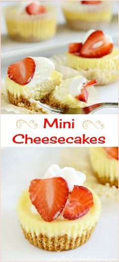 Mini cheesecakes with graham cracker crust. These individual cheesecakes are made in a muffin tin and are so easy. Perfect for Mother's Day or just because!