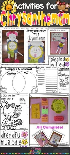 Activities for Chrysanthemym by. Kevin Henkes! Complete with a lesson plan, crafts, name activities, comprehension tri-fold, and more!