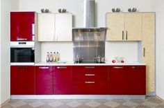 of the Day: Red reminds us of roses, race cars, and fiery hot kitchens. Good, two tone red white cream stainless steel small Red And White Kitchen Cabinets, Red Kitchen Tiles, Green Kitchen Walls, Two Tone Kitchen Cabinets, Red Kitchen Decor, Kitchen Cabinet Design, Kitchen Ideas, Nice Kitchen, Red Kitchen Accessories