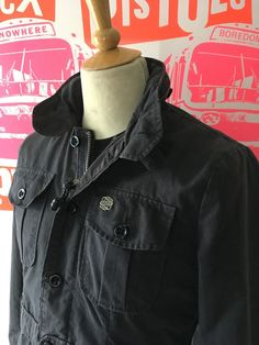OBEY DARK GREY MILITARY STYLE JACKET, ZIP & BUTTONS, HOOD OBEY METAL BADGE - LRG #Obey #Military