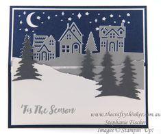www.thecraftythinker.com.au, Carte de Noël, Carte chevalet, Salutations de ville natale, Escalier de Noël, Stampin 'Up