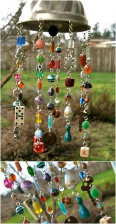 Yard art from junk wind chimes diy Ideas Diy Art Projects, Garden Projects, Wood Projects, Backyard Projects, School Projects, Diy And Crafts, Crafts For Kids, Arts And Crafts, Homemade Crafts