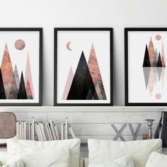 Scandi Mountain Scene printable art. Download them today, have them on your wall tonight! Contemporary, modern art for your space.