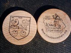 Iowa Geocachers Association wooden nickel