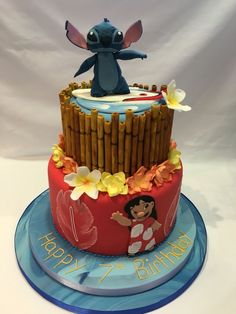 Wonderful Picture of Lilo And Stitch Birthday Cake Lilo And Stitch Birthday Cake Lilo Stitch Dis Crazy Cakes, Fancy Cakes, Cute Cakes, Lilo And Stitch Cake, Lilo Et Stitch, Disney Stitch, Disney Themed Cakes, Disney Cakes, Birthday Cake Disney