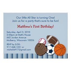 All Star Sports Ball Birthday Invitations