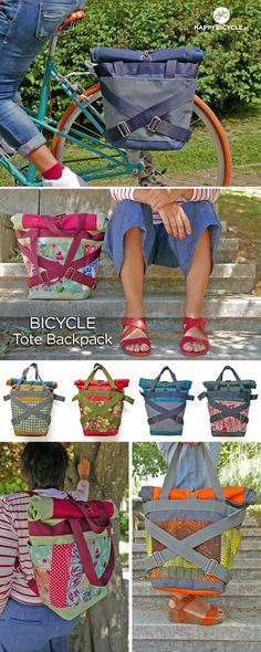 Versatile handmade backpack for daily use as a backpack, tote bag or as a bicycle pannier.