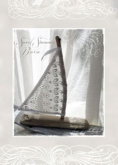 Driftwood Crafted Beach Decor  Sailboat with Vintage Linen Cotton Lace Sail Coastal Seaside Beach Themed Wedding Favors