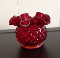 Vintage FENTON Ruby Red Amberina Hobnail Glass Vase/Candle Holder by cappelloscreations, $20.00@Etsy