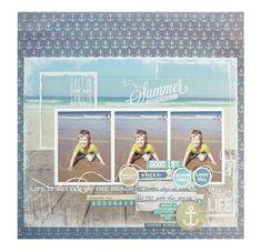 Sandy Toes by KaiserCraft. Beach Scrapbook Layouts, Scrapbook Designs, Scrapbook Sketches, Baby Scrapbook, Travel Scrapbook, Scrapbooking Layouts, Scrapbook Pages, Beach Family Photos, Summer Memories