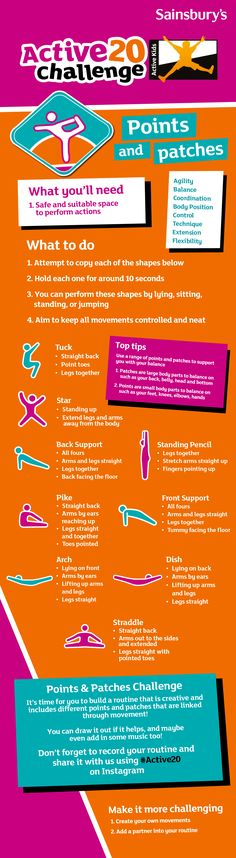 Today's challenge for your kids is all about getting active. It'll help your kid's agility, balance and coordination. Get your kids to use a range of points and patches to support them with their balance ● Patches are large body parts to balance on such as your back, belly, head and bottom ● Points are small body parts to balance on such as your feet, knees, elbows, hands Let us know how your kids get on by sharing on Instagram with #Active20 #Sainsburys You Got This, Let It Be, Sainsburys, Body Parts, Activities For Kids, Patches, Challenges, Range, How To Get
