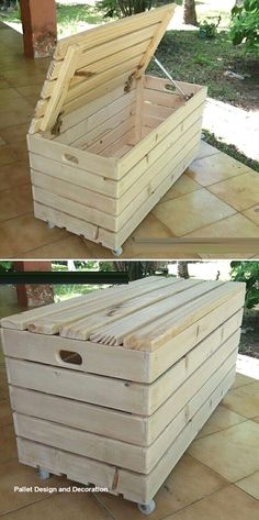 Recycled pallet storage box ideas Embellish your home this year with creative wooden Pallet Ideas. Old creative wooden pallet ideas improve the look Wooden Pallet Projects, Wooden Pallet Furniture, Pallet Crafts, Wooden Pallets, Wooden Diy, 1001 Pallets, Pallet Wood, Pallet Couch, Pallet Benches
