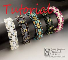 *P Beading Tutorial for Square Dance Bracelet Beadwoven- Tila, Half Tila and 8o & 11o Seed beads