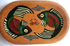 Vintage Wooden Tray with Tropical Fish