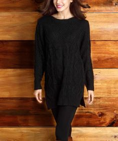 Look what I found on #zulily! Black Cable-Knit Sweater #zulilyfinds