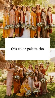 yellow brides maid dresses Fall neutral natural yellow bright orange burgundy pink light pink color palette inspiration for bridesmaid dresses wedding San Diego photographer Yellow Wedding Colors, Burgundy Wedding, Wedding Orange, Wedding Black, Orange Wedding Dresses, October Wedding Colors, Fall Bridesmaid Dresses, Different Colour Bridesmaid Dresses, Burnt Orange Bridesmaid Dresses