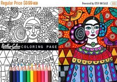 55% Off- Frida Kahlo coloring page art, Mexican Folk Art coloring book, adult coloring book, coloring pages, adult coloring pages