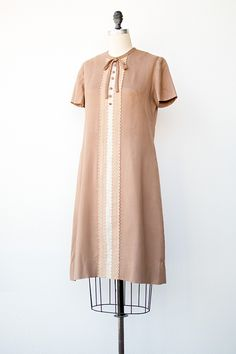 vintage 1960s tan mod scooter dress with lace