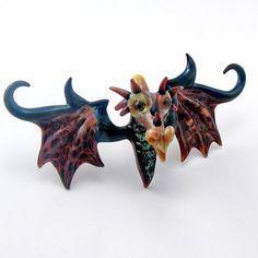 Lampwork Glass Dragon Head Boro Pendant Glass Bead by Glassroger, $74.95